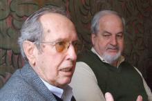 Moacyr Moojen Marques, arquiteto autor do auditório Araújo Vianna, e o secretário da Cultura, Sergius Gonzaga