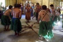 Apresentação do grupo de dança dos anfitriões foi um dos destaques da festa