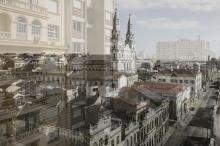 Brinquedo mostra imagem atual sobre imagem antiga da Igreja das Dores