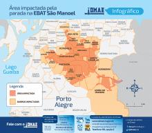 Infográfico da Área impactada pela parada da Ebat São Manoel